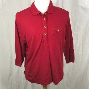 Talbots Women's 3/4 Sleeve Polo Top Size 3X Red